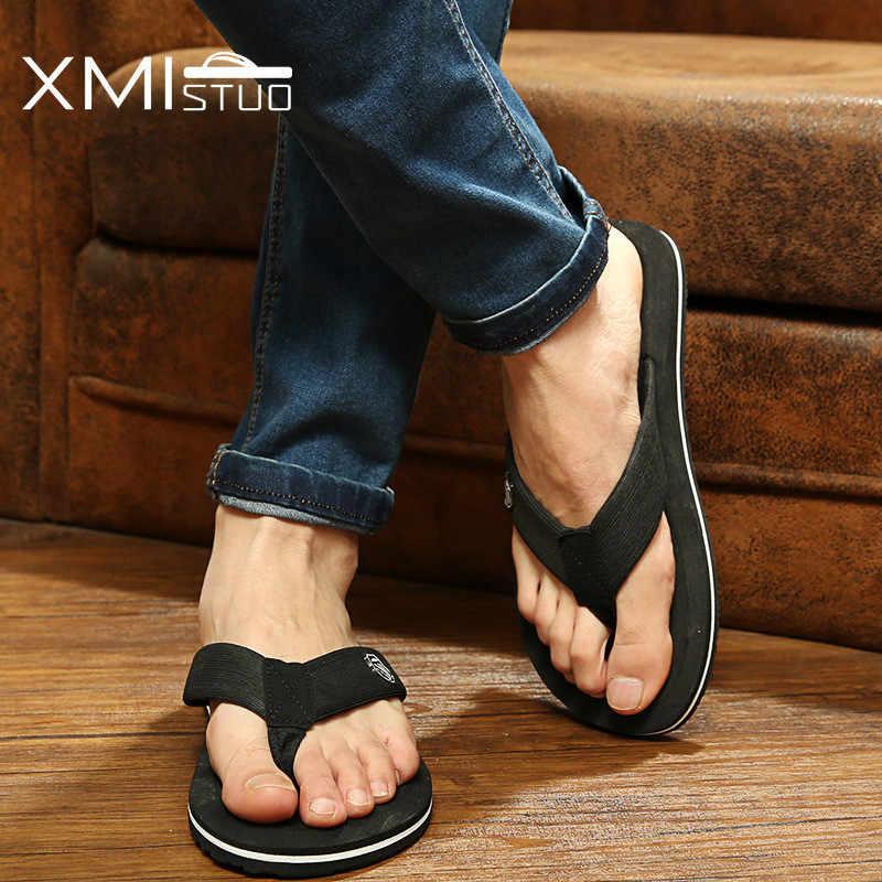 efbba9eea ... XMISTUO zapatos de hombre de talla grande Cool hombres chanclas para  zapatillas de playa holgadas para