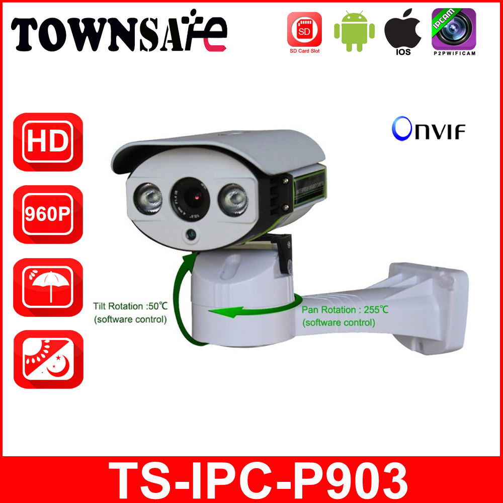 TOWNSAFE new TS-IPC-P903 HD 960P 1.3MP Bullet IP Camera Outdoor Pan/Tilt IR Security Cam with TF/Micro SD Card Slot ONVIF P2P bullet camera tube camera headset holder with varied size in diameter
