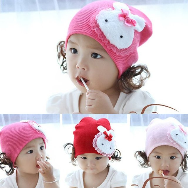 The Korean version of the rabbit children hat / baby lace / cotton caps headgear baby of cap EY044