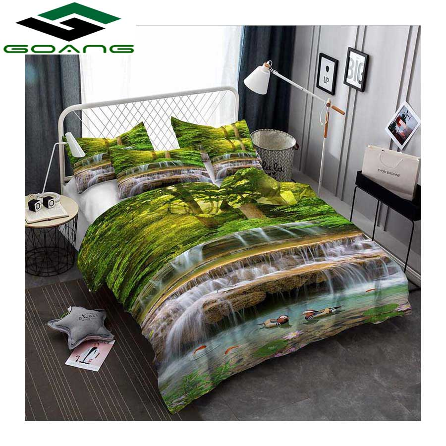 GOANG Bedding Sets Bed Sheet Duvet Cover Pillow 3d Nature Scenery 100% Polyester King Size Bedding Set Waterfall Forest