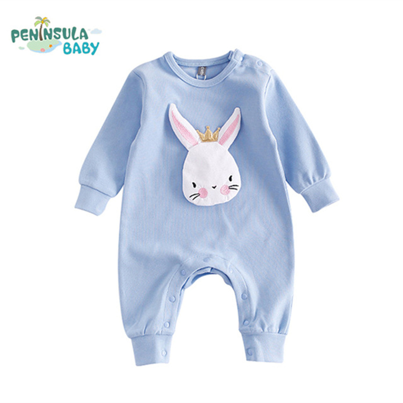 Autumn Newborn Baby Clothes Cartoon Rabbit Baby Rompers Long Sleeve Baby Girls Clothing Jumpsuits Roupas Babies Infant Costume hot new autumn fashion baby rompers cotton kids boys clothes long sleeve children girls jumpsuits newborn bebes roupas 0 2 years