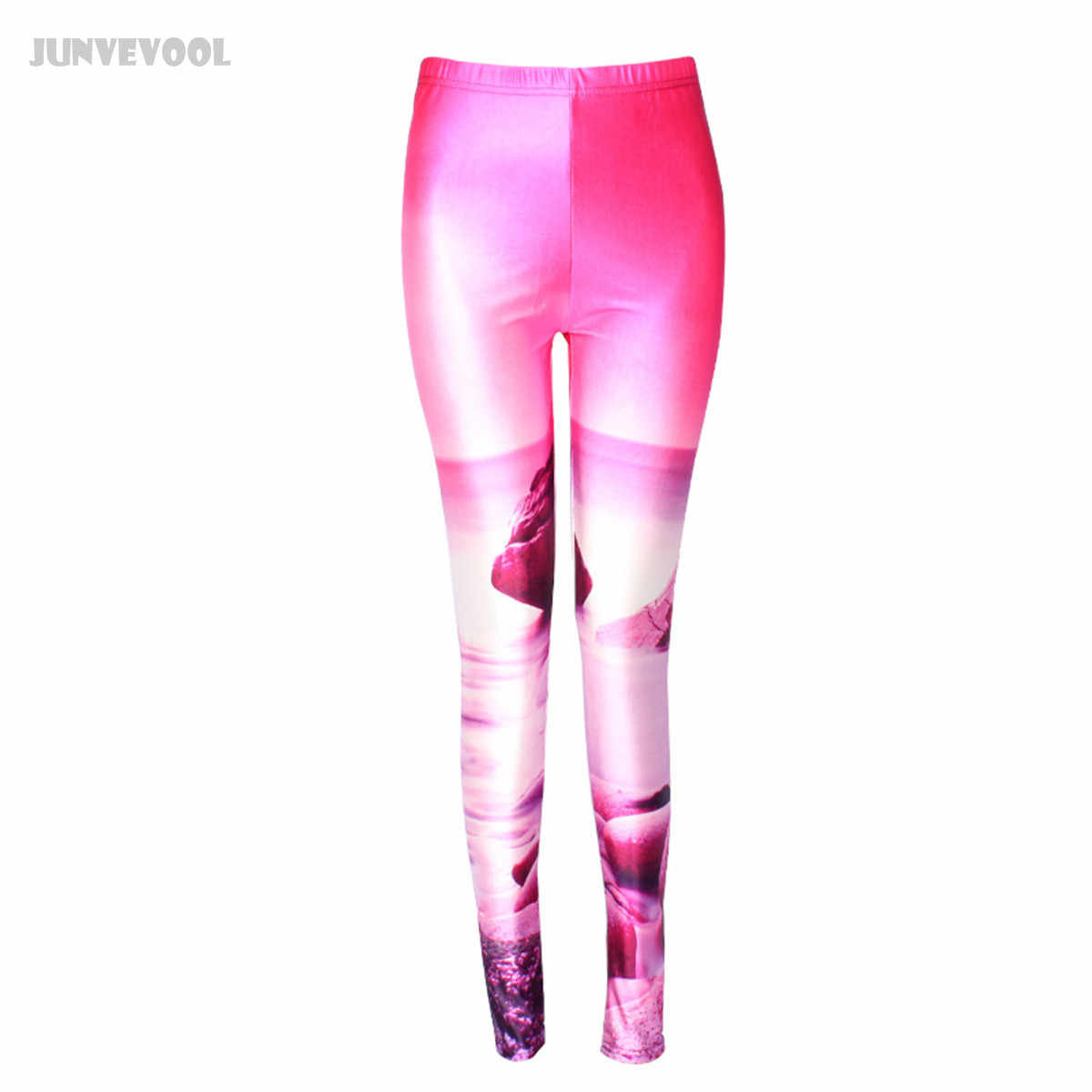 284b9df27c464 Leggings Adults Girl 3D Pink Ocean Stone Printed Sexy Women's Skinny  Trousers Solid Color Wet Look