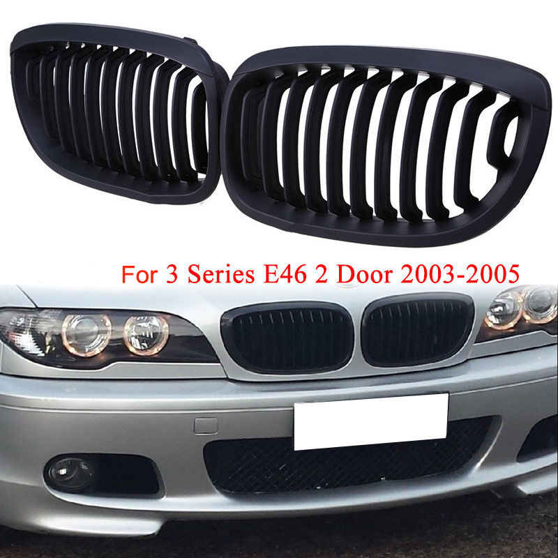 1 Pair Matte Black Sport Grille Grill For 3 Series E46 2DR Coupe 02 05 LCI