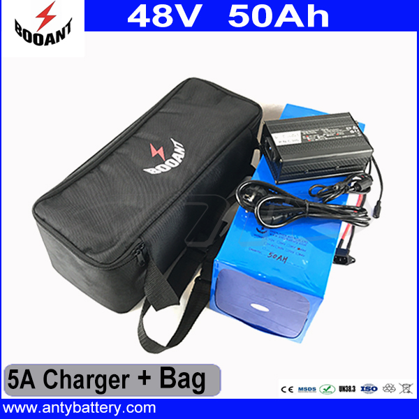 50A BMS Lithium Battery Pack 48V 50AH For 8Fun Bafang Motor 1800W With 5A Charger Battery Bag Electric Bicycle Battery 48V free customs taxes super power 1000w 48v li ion battery pack with 30a bms 48v 15ah lithium battery pack for panasonic cell