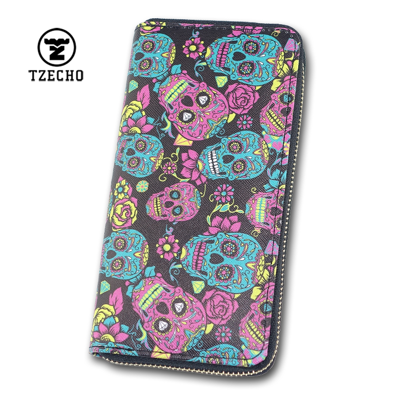 TZECHO Women Wallets Zipper Long Wallet for Women With Phone PU Cartoon Skull Head Ladies Clutch Purses Rfid Credit Cards Holder ...