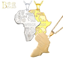 BOAKO Africa Necklace for Women/Men Pendant Africa Map Necklace Statement Steel Chain African Jewelry collier congo Z5