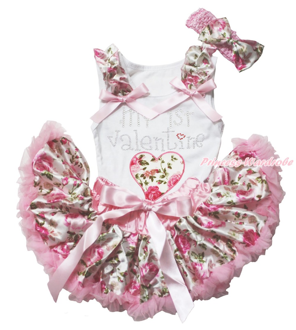 MY 1ST Valentine Rose Heart White Top Floral Girls Baby Skirt Outfit Set 3-12M green top shirt my 2nd st patrick day rainbow clover girls skirt outfit set 1 8y