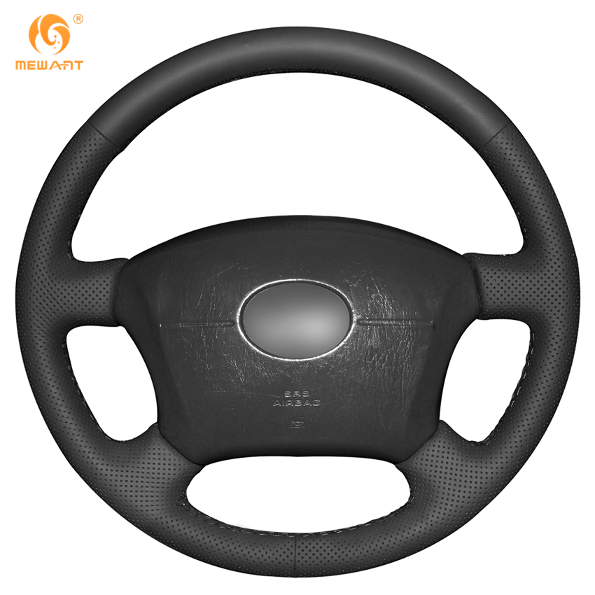 mewant black artificial leather steering wheel cover for toyota land cruiser prado 120 land. Black Bedroom Furniture Sets. Home Design Ideas