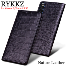 RYKKZ Genuine Leather Case For Xiaomi 9 Ultra Thin Flip Cover Handmake Cases 9SE