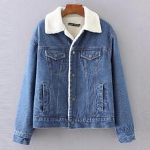 Hot!2019  New Winter Bomber Denim Jacket for Women Ladies Ou