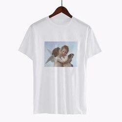 vogue t shirt van gogh ulzzang tumblr Angel kiss short sleeved tshirt womens graphic tees women aesthetic tops clothes 2