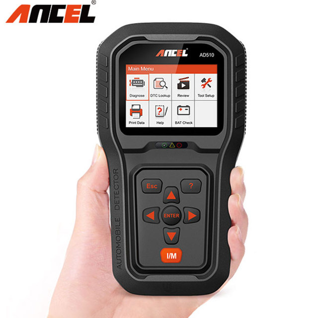 Original ANCEL AD510 Full OBD2 Scanner Code Reader Battery Tester in Multi Languages OBD Car Diagnostic Tool Update For Free