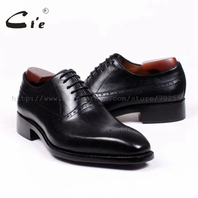 cie Square Toe Cut-outs Oxfords Lacing Solid Black 100%Genuine Calf Leather Breathable Bespoke Men Shoe Handmade Custom OX380