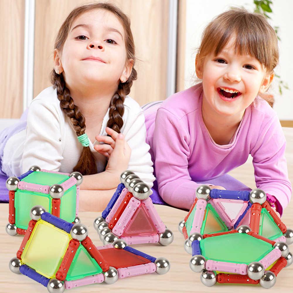 50 sztuk magnetyczne projektant klocki magnes bary metalowe kulki Model i budowa klocki dla dzieci prezenty