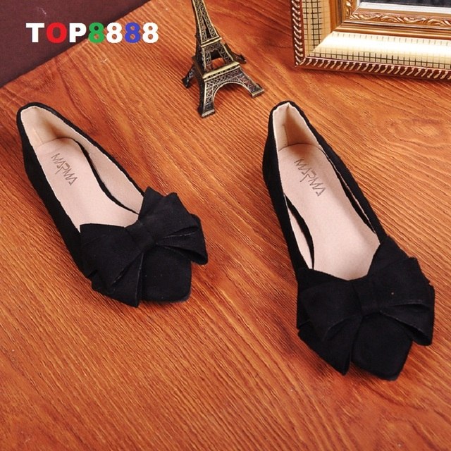 Size 35-40 5 Colours Bowtie Designer Flat Shoes Point Toe Woman Shoes Autumn Korean Candy Flats Girl Footwears ML2496