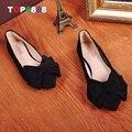 Tamaño 35-40 5 Colores Bowtie Zapatos Planos de Diseño de Punto Del Dedo Del Pie Zapatos de Mujer Otoño de Corea Dulces Pisos Chica Calzados ML2496