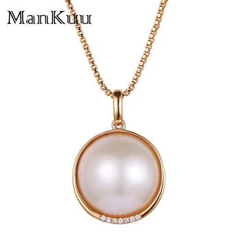 Natural Pearl Necklaces Decorate South Africa Diamond 18K Gold Necklace 18mm Round Freshwater Pearl Necklaces For Women