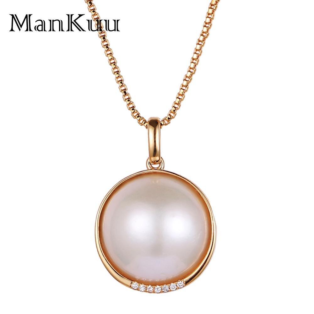 ManKuu colliers de perles naturelles décorer l'afrique du sud diamant 18 K collier en or 18mm colliers de perles d'eau douce rondes pour les femmes