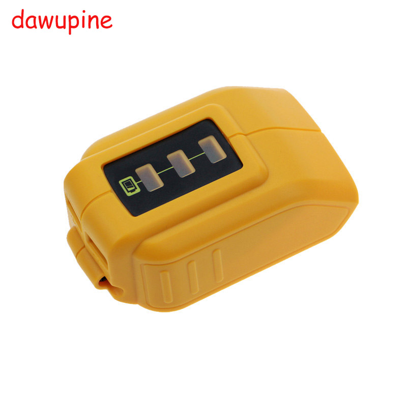 dawupine USB Converter Charger For DEWALT 14.4V 18V 20V Li-ion Battery Converter DCB090 USB Device Charging Adapter Power Supply