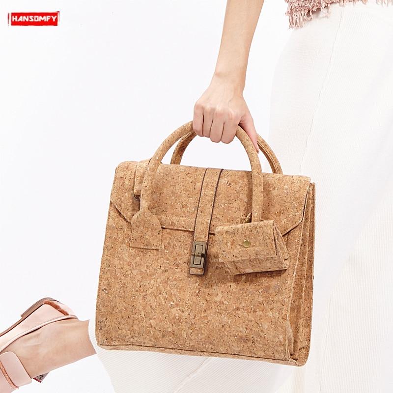 Original design women handbags business bag female wooden shoulder portable bags messenger soft cork bag