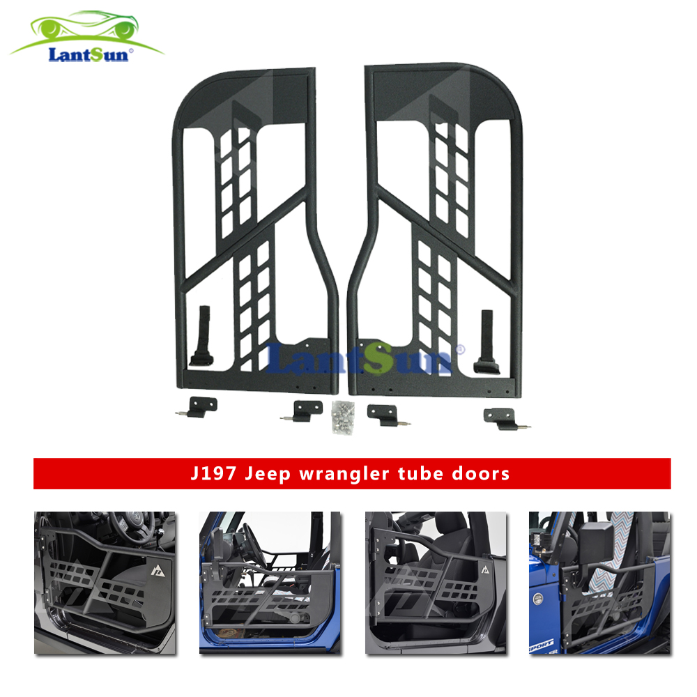 one set J197 black steel half tube doors with side mirror for jeep wrangler jk 07-15 2 doors ...