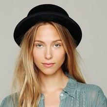 Brand New Wool Boater Flat Top Hat For Women's Felt Wide Brim Fedora Hat Laday Prok Pie