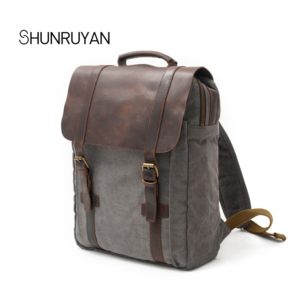 SHUNRUYAN Waterproof Backpack Men Canvas Travel Shoulder Rucksack Vintage Large Capacity Youth Boy Laptop Backpack School Bag