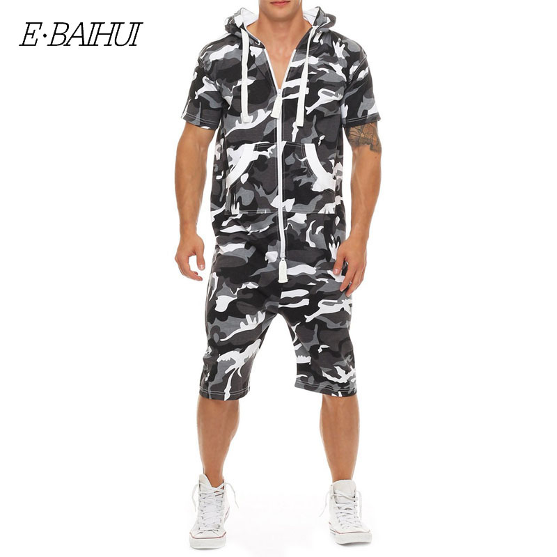Briljant E-baihui Zomer Mannen Jumpsuit Patchwork Camouflage Trainingspak Casual Rits Korte Mouwen Met Capuchon Met Zakken Korte Overalls F815
