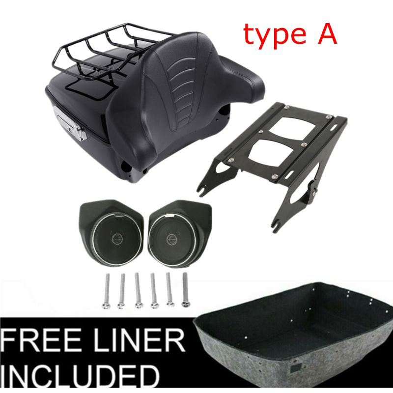Motorcycle King Tour Pak Pack Trunk Luggage Rack Backrest with Speaker For Harley Touring Road King