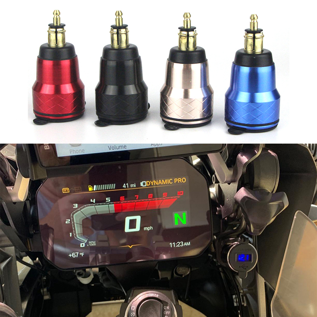 لسيارات BMW F800GS R1250GSA R1200GS QC 3.0 المزدوج USB مقاوم للماء دراجة نارية شاحن التوصيل المقبس ولاعة السجائر محول LED العرض