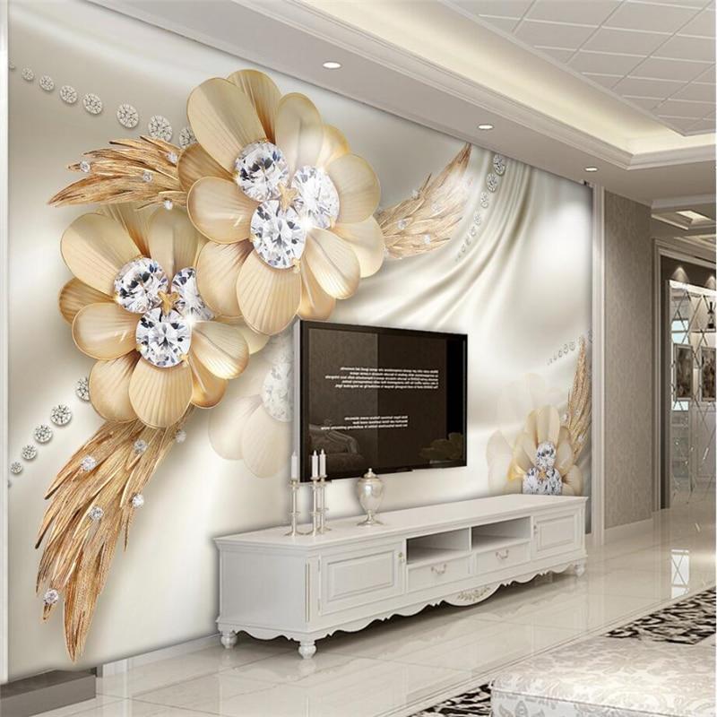 Beibehang Custom Wallpaper Home Decor Living Room Bedroom: Beibehang Custom 3d Wall Paper Gold Upscale Diamond Flower