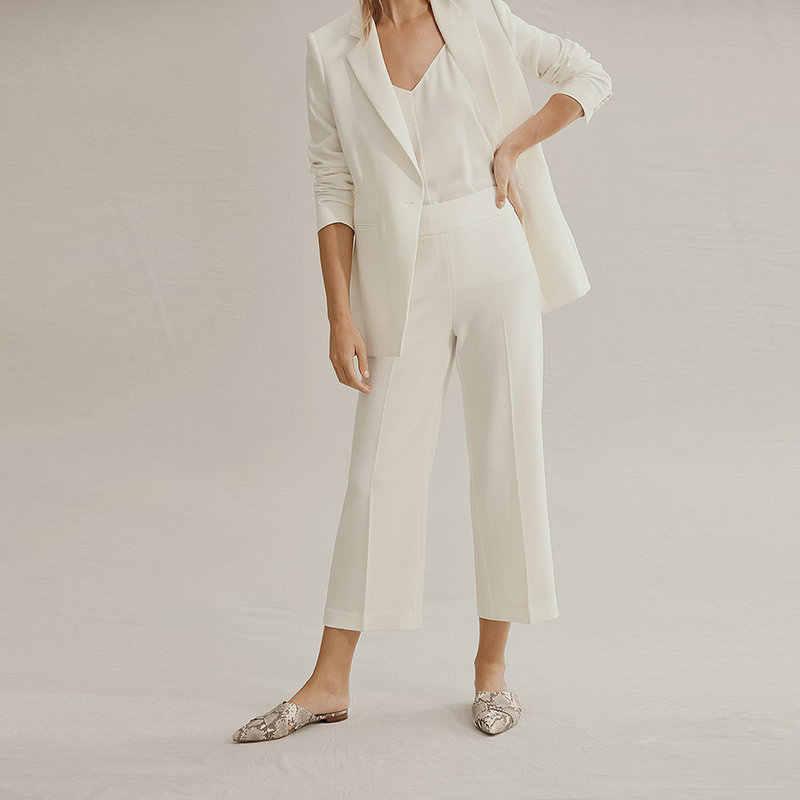 Traje de mujer elegante Formal de trabajo blanco personalizado conjunto de Blazers y pantalones trajes de oficina Pantalones de mujer trajes de pantalón