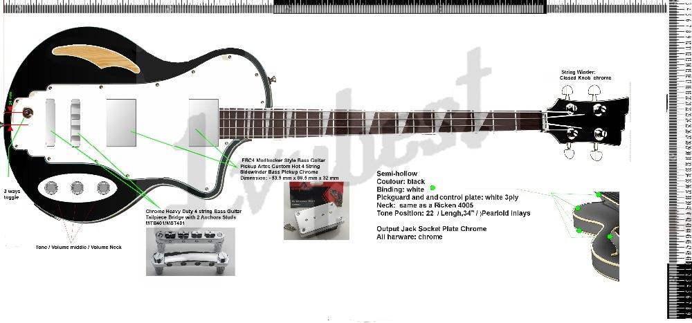 Forme de corps personnalisée et forme de poupée guitare basse électrique à 4 cordes, fini noir solide, pièces chromées, avec corps creux!