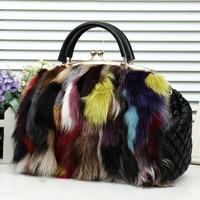 2018 Luxury Real Fox Fur Women Mink Fur Bag Color Fox Fur Shoulder Bag Ladies Genuine Leather Fur Tote Handbag Crossbody Bags