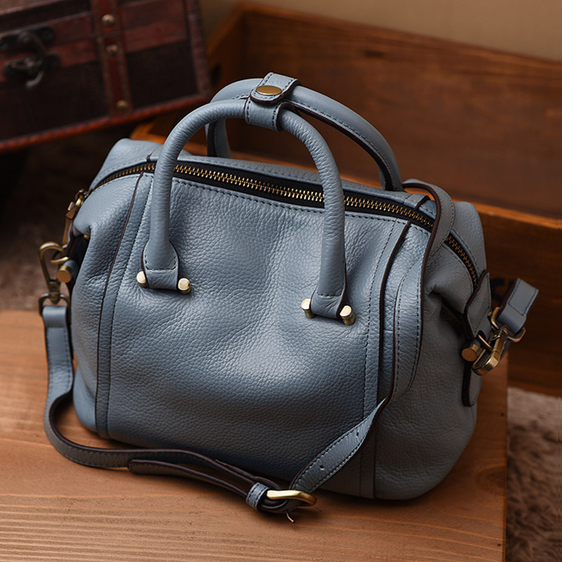 Fashion simple boston bag genuine leather designer handbags high quality crossbody bags for women shoulder tote