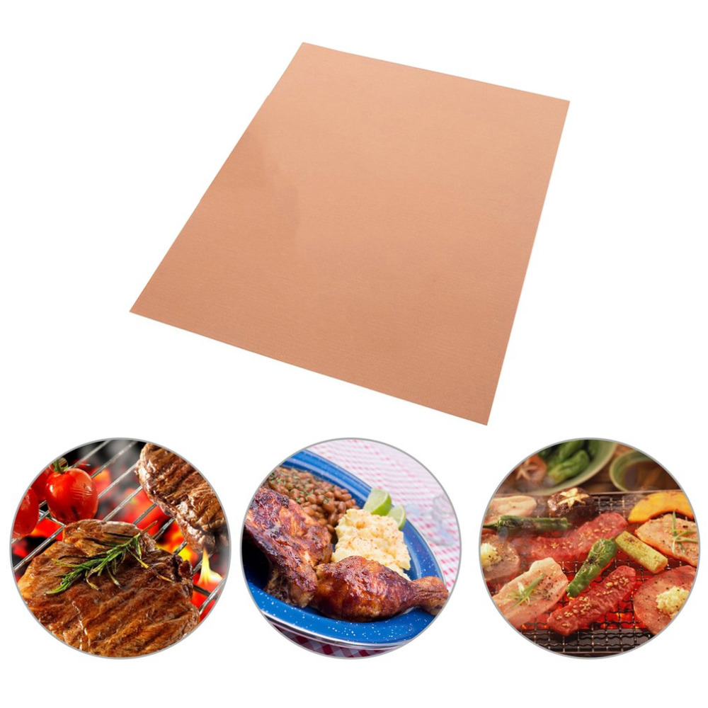 Bronze BBQ Grill Mat PTFE Barbecue Pad High Temperature Resistant Mat Non Stick Kitchen Reusable Pad Home BBQ tools