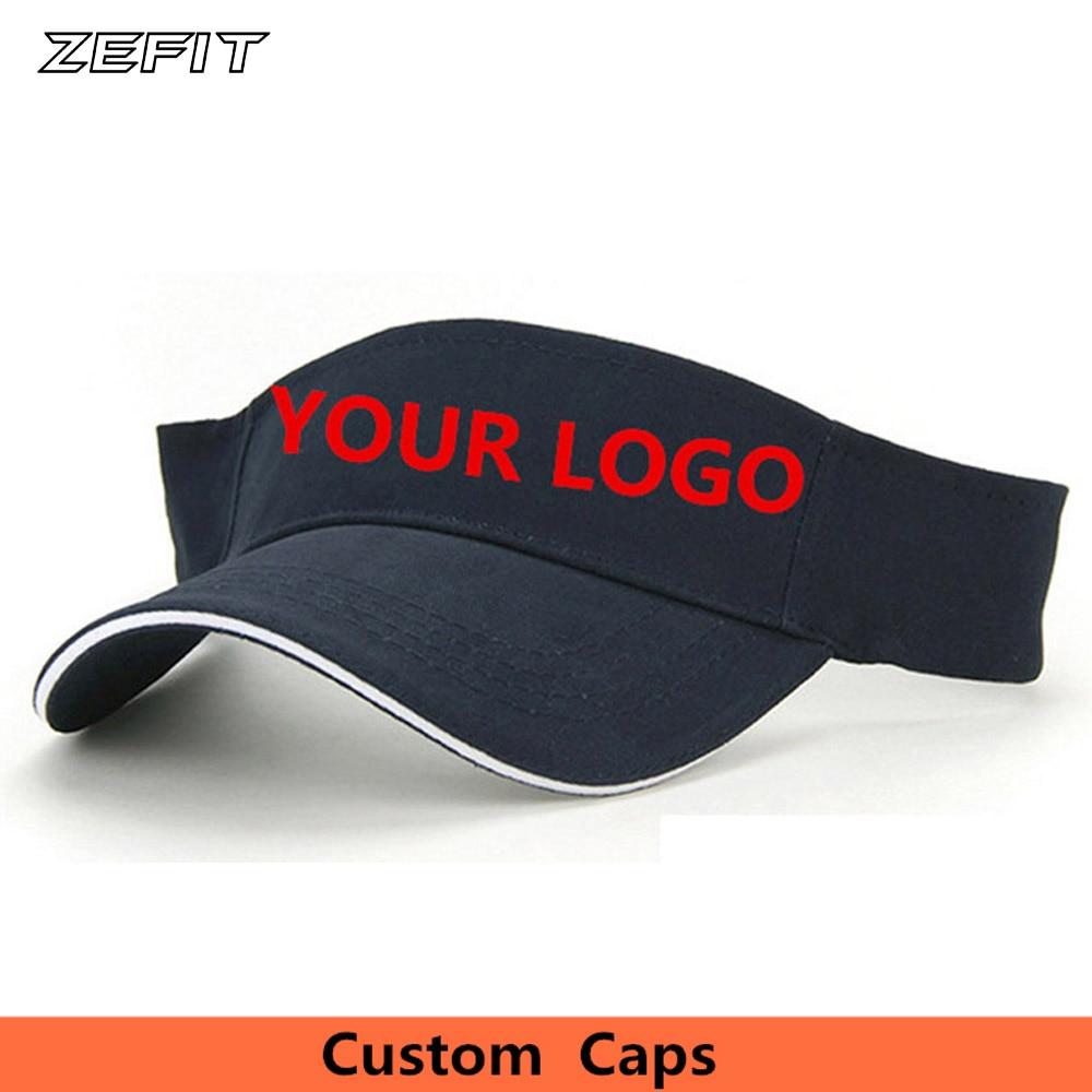 Wholesale Express Free shipping Custom Visors Printing Embroidery Logo Hollow Sun Hats Caps