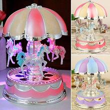 45# Delicate Carving LED Glowing Wind-Up Carousel Music Box