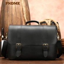 Business man leather single shoulder bag 14 - inch notebook messenger multi-purpose portable briefcase