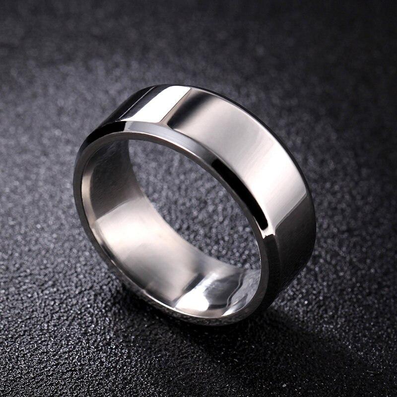 8mm Bright Polish Silver Color Titanium Ring For Men