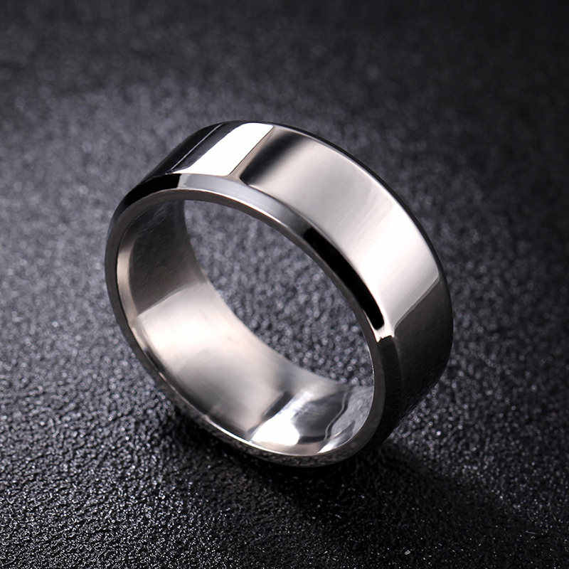 8mm Bright Polish Silver Color Titanium Ring For Men