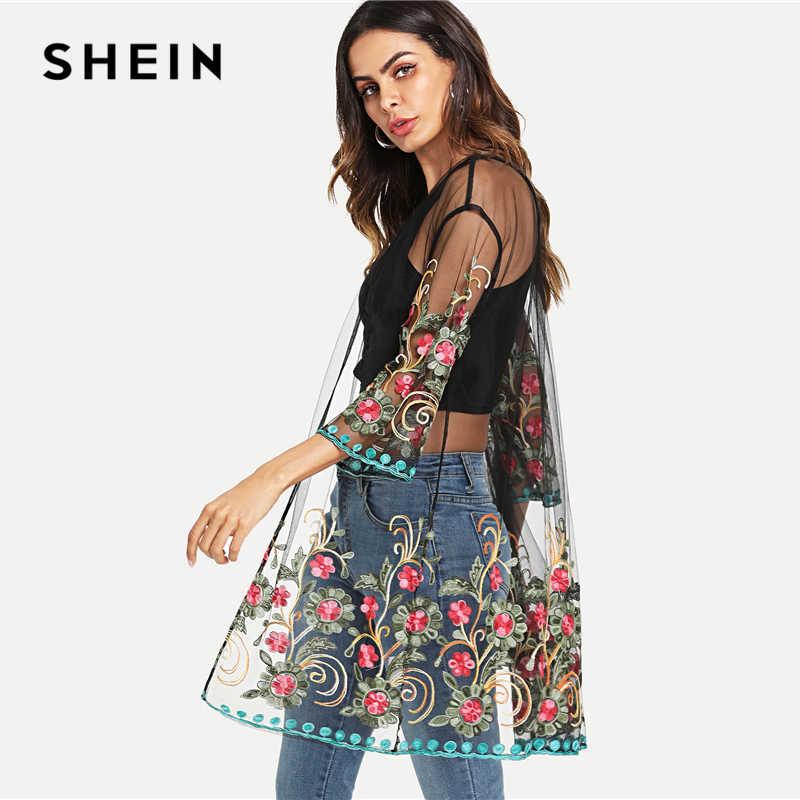 Шеин, сеточка, вышитая цветами, кимоно, черная, бохо, длинная, Сексуальная Блузка, женская, летняя, для пляжного отдыха, с длинным рукавом, простое кимоно