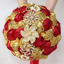 Große 24cm Gold Diamant Braut Bouquets Hochzeit Braut Kristall Seide Rote Rose Blumen Braut Satin Bouquet Ehe W227Q