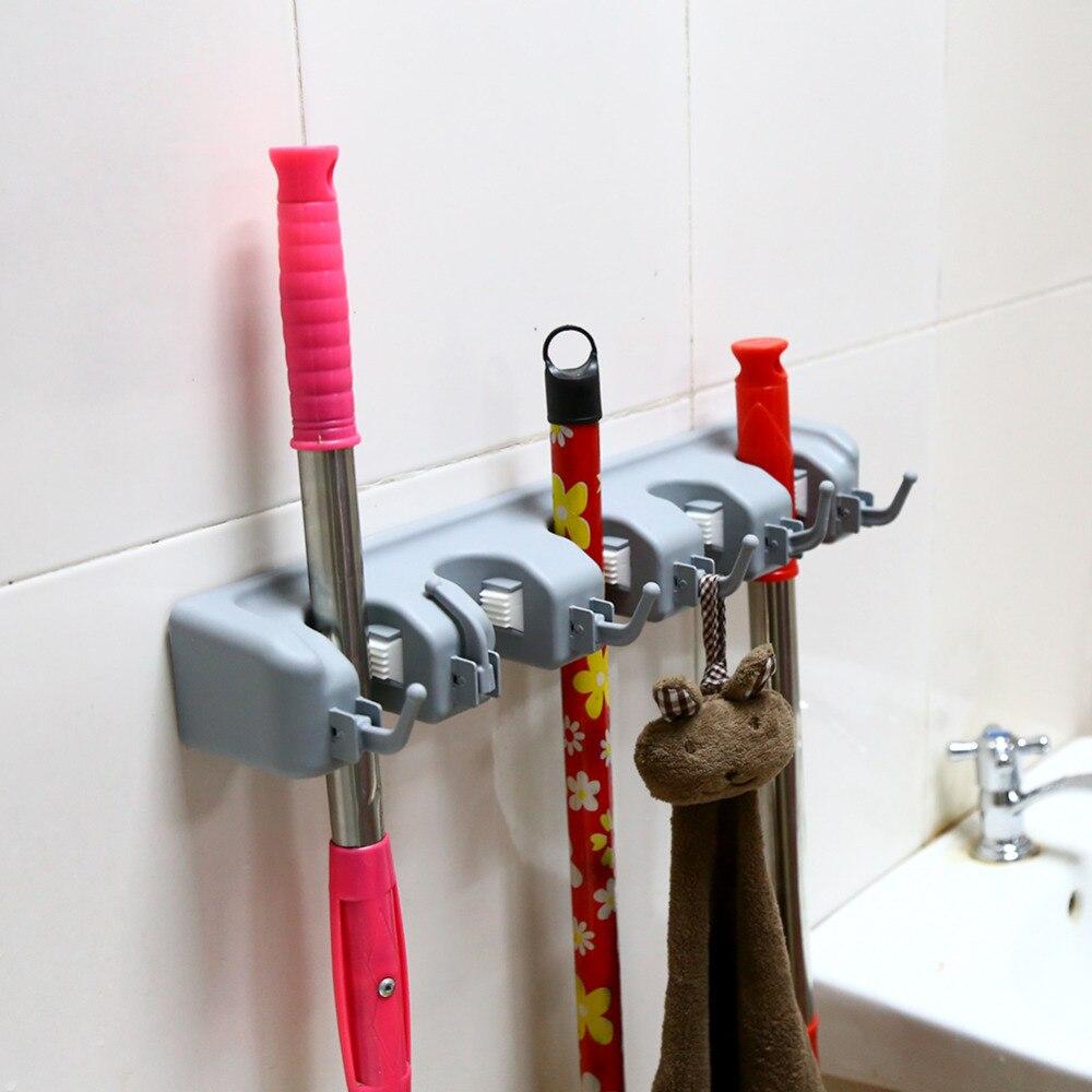 6 Hooks Broom Holder Hanger Brush Mop Cleaning Tool