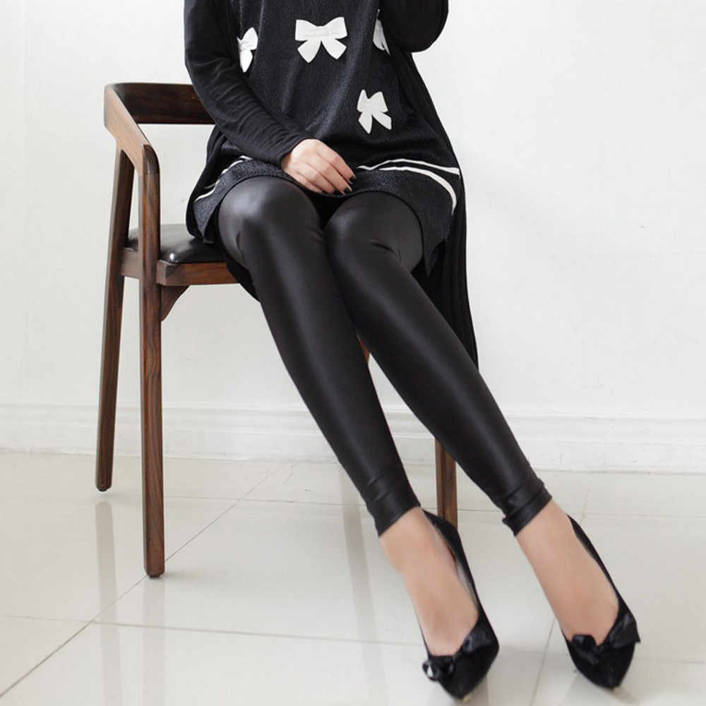 JAYCOSIN Модные женские кожаные джинсы Высокая талия узкие брюки, леггинсы обтягивающие длинные женские брюки 201922