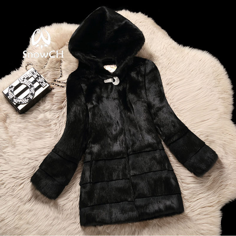 New Free Shipping Real Rabbit Fur Coat Women Full Pelt Rabbit Fur Jacket With Hat Drill Buckle Winter Outerwear Make Plus Size