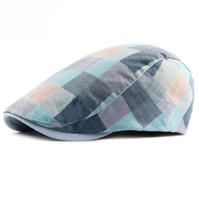 HT1711 2018 New Beret Hats for Men Women Spring Summer Flat Caps Retro Plaid Berets Femme Adjustable Unisex Cap