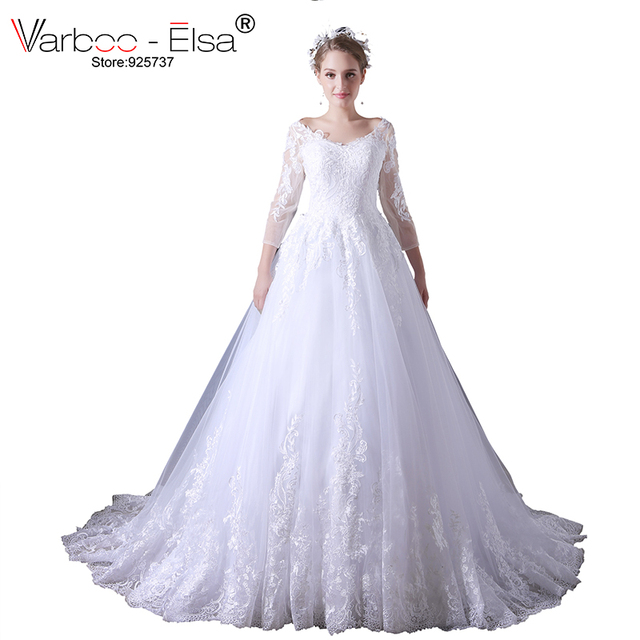 Varboo Elsa 2018 Baru Putih Renda Wedding Dress Gaun Pengantin