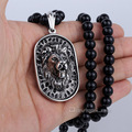 8mm 70.6cm Mens Boys Chain Black Ball Glass Bead Link 316L Stainless Steel Lion Pendant Necklace Wholesale Jewelry LHN83