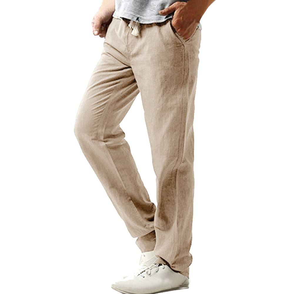 Summer Casual Pants Straight Trousers Solid Breathable Pants Plus Size Men's Cotton and Linen Trousers Pants c0313